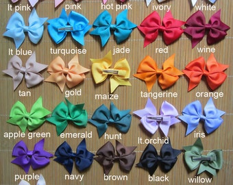 Set of 30 pieces 3 inch baby hair bows, 25 colors to choose you pick colors, hair bows attached with 45mm lined alligator clip