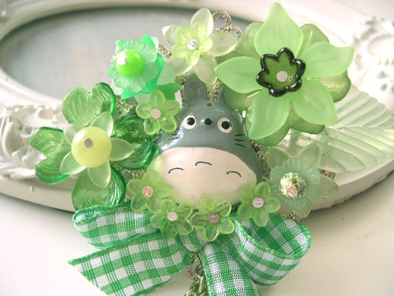 Hair Clip kawaii fairy kei lolita accessory Totoro kanzashi green