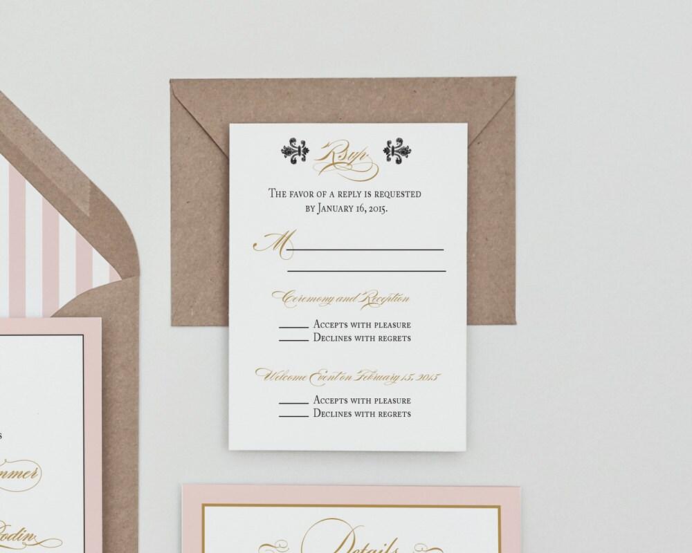 Fleur de lis Monogram French Baroque Wedding InvitationFrench