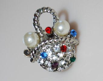 Beautiful Pearl & Rhinestone Vintage Tiny Basket Pin Brooch Silver Color, Red, Blue, Green