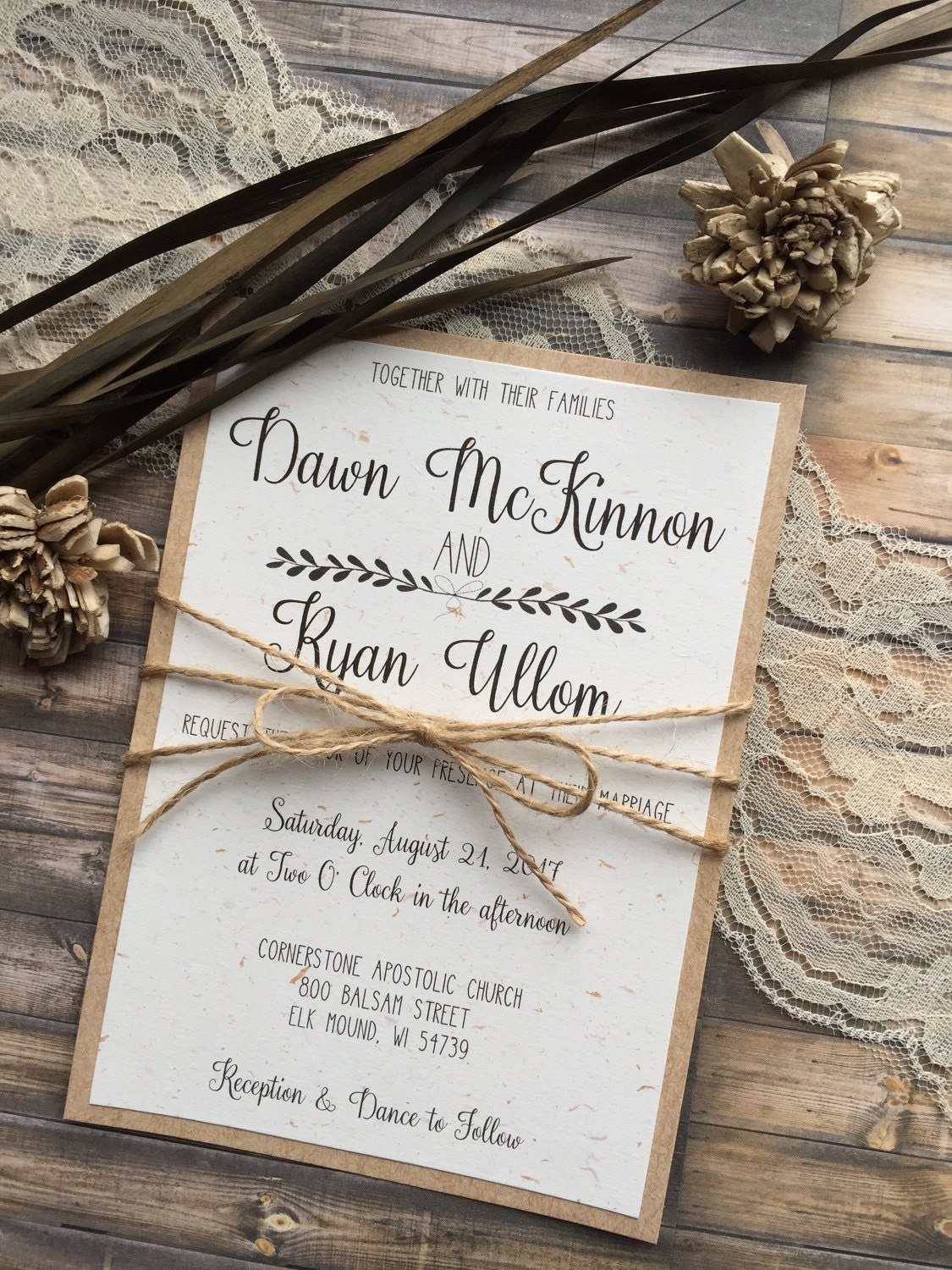 Rustic Wedding Invitation Vintage Wedding Invitation Elegant