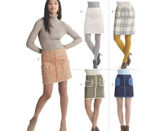 Sewing Pattern for Misses' Skirts in Two Lengths with Pockets and Trim Variations, Simplicity Pattern 8420, Women's Pocket Skirts, Modern