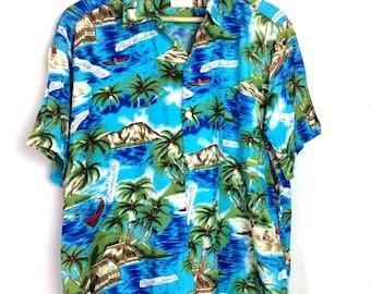 Rare Vintage 80's Manhattan Hawaii Button Down Rayon Shirt San Antonio Sun Surf Toyo Enteprise Size L Jamaica