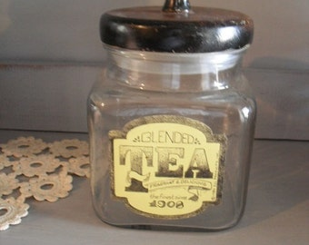 Vintage Glass TEA Jar with Wooden Lid ... Rustic Farm house