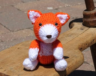 Fox Toy, Small Toy, Knitted Fox,  Baby Toy, Stuffed Animal Toy, Baby Shower Gift, Orange Foxy, Woodland Animal Toy, Hand Knitted Toy