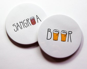 Coasters, Set of Coasters, Drink Coasters, Coasters, Beer, Sangria, Hostess Gift, Housewarming Gift, Stocking Stuffer, Mix & Match (5043h)