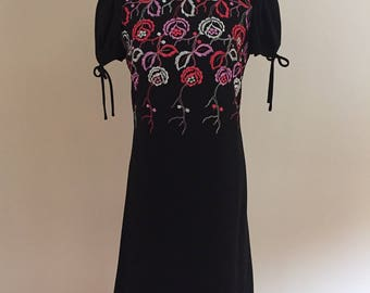 Early1970's Vintage Embroidered  Black Wool Crepe Dress/GiGi