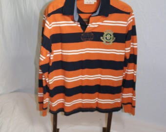 Brooks Brothers RUGBY SHIRT Long Sleeve Polo Orange Blue White Striped Men's Extra Large