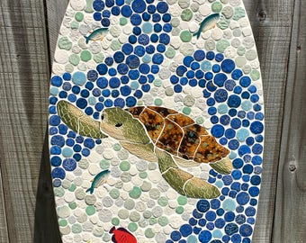 Surfboard with Sea Turtle Wall Decor Handcut ceramic mosaic tile