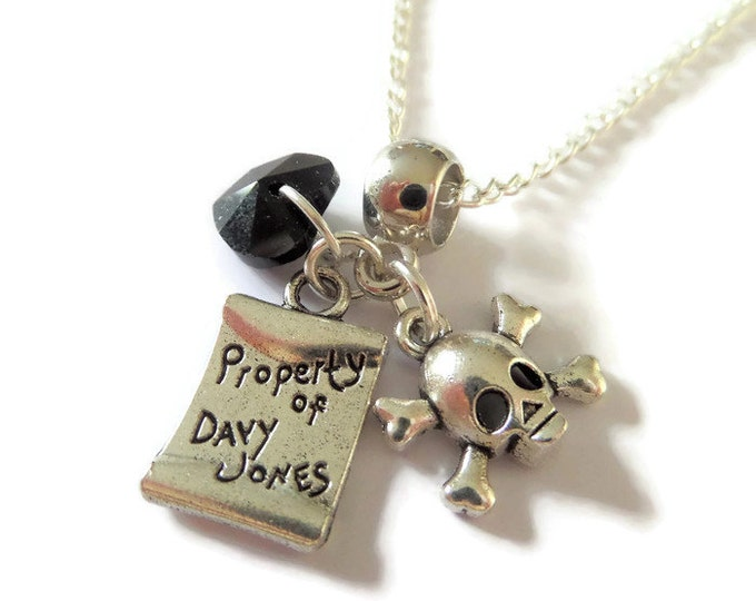 """PIRATES of the CARIBBEAN inspired silver charm 20"""" necklace jack sparrow fan gift jewellery Uk"""