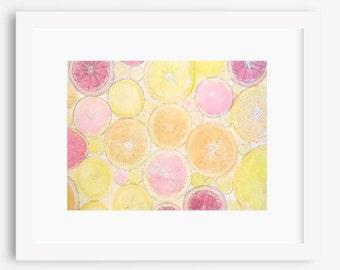Watercolor of Lemons, Oranges, and Grapefruit