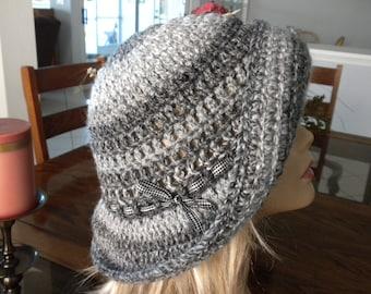 Crochet Hat Floppy Grey Mult Color Fall Winter Handmade