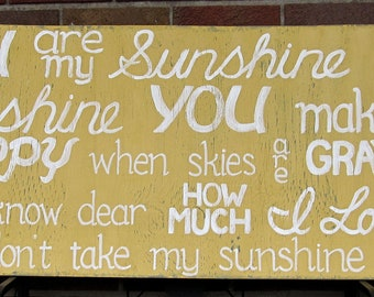 You are my Sunshine SIGN Subway Distressed Yellow Gray Handmade Hand-painted Wooden 18x42 WHAGN Made to Order