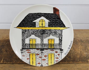 Vintage Hand Painted House Plate, Porcelain, Decorative Plate, Jacques De, 3 Story House, Black Yellow Brown, Wall Decor, Plates, Handmade
