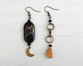 Alkaia Earrings // Handmade + Asymmetrical + Brass + Nickel Free  + Handmade Jewelry + Boho