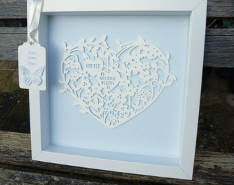 Home Is Where MUM Is- Paper Cut Heart in Box Frame