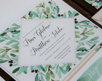 Olive Branch Watercolor Invitation - White Folder with Sage & Olive Accents - Fully Customizable in over 80 colors