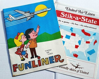 United Air Lines 1960s Funliner and Stik-A-State. Vintage aviation. Activity books. Airplanes. Friendly skies. Vacation. Travel collectible