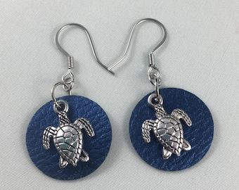 Turtle Earrings - Leather Earrings - Vegan Earrings - Stainless Steel - Faux Leather - Vegan Leather - Hypoallergenic - Blue Leather