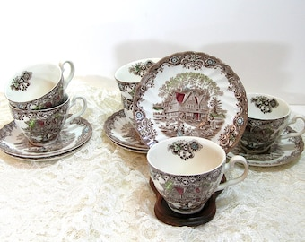 Johnson Brothers, Heritage Hall, Transferware, Cup and Saucers, English Ironstone, Set of Six