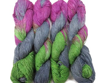 New! Premium Hand dyed  Silk Yarn,  Color: Grey/Fuschia/Lime
