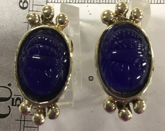 Used - Blue scarab screw back earrings