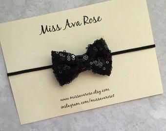 Black sparkle mini bow, black sparkle bow headband, black sparkle bow, black sparkle bow