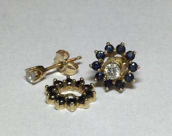 Estate 14k Yellow Gold .25 Diamond Studs And Sapphire Earring Jackets