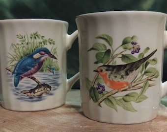 Coffee Cup, Fine China, Audubon inspired mugs, Made in Japan, blue bird, black and red bird, ceramic mug, morning coffee, bird watching