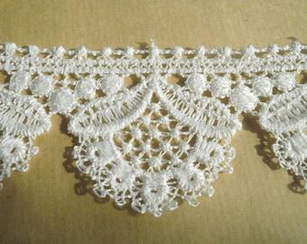 Lace trim synthetic, hoops, light ecru color, width 5.5 cm