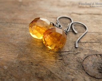 Citrine earrings, drop earrings, sterling silver earrings, yellow gemstone, gemstone jewelry, oxidized sterling silver, woodlandandmoon