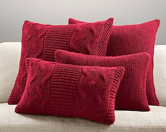 Set of pillows. Decorative pillows. Knitted cushion. Pillows with patterns. Woolen knitted cushion.