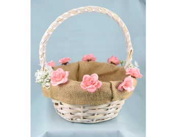 White wicker flower girl basket plum cream and ivory white wicker flower girl basket white or pink roses and burlap lining mightylinksfo