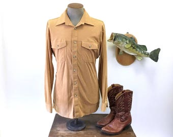 1970s Men's Ultrasuede Disco Era Shirt Vintage Light Brown Long Sleeve Shirt by National Shirt - Size LARGE