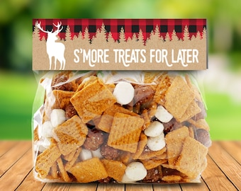 "Lumberjack Party Favor Bag Topper - S'more Treat Favor Topper, S'more Treats, 6.5"" Baggie Pre-Typed Topper 