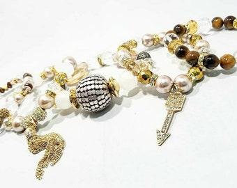 Cafe Latte Beaded Bracelet Set