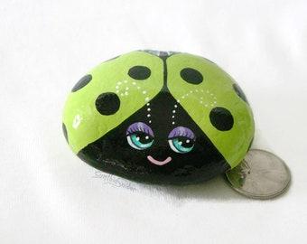 Painted rock, painted stone, ladybug, bug rock, bug stone, green ladybug, big eyes, garden decor, cute bug rock, ladybird stone, sparkly