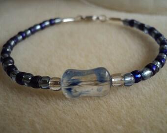 Bracelet, Blue Beaded Bracelet, Light and Dark Blue, Blue and Silver, Seed Bead Bracelet, Blue Swirl Focal Bead, Beaded Bracelet, Blue Swirl