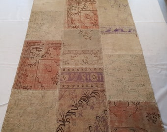 Cream Patchwork with shades of rose gold 150 x 300 cm
