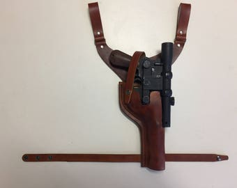"Star Wars Leather ANH DL-44 Han Solo ""Y"" Drop HOLSTER in Brown costume Prop For Rubies Blaster"