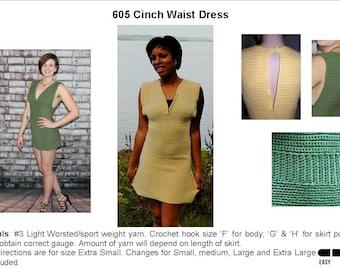 Cinch Waist Sleeveless Dress Crocheted Pattern   605