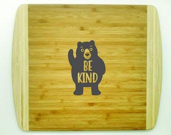 BE KIND - 2 Tone Bamboo Cutting Board