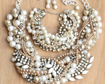 Chunky Pearl Wedding Set, Necklace, Bracelet, Earrings, Made To Order Bridal Jewelry Set, White Wedding Necklace, Vintage Milk Glass