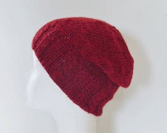 Hand knit cabled red alpaca wool, unisex Hat
