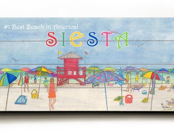 """Coastal art. Beach sign. Number 1 Best Beach, SIESTA . 10"""" x 24"""". Acrylic painting, reproduction, giclee- printed on planked wood boards."""