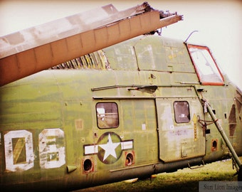 Wounded Army Plane - Vietnam Memorial - War Photography - Vintage Military Images - 8x10