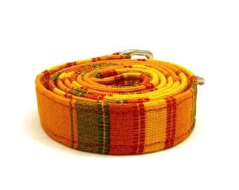 "Yellow striped dog leash - Orange striped pet lead - Sun yellow dog leash -  Green striped - ""Here Comes The Sun"" wide striped dog leash"