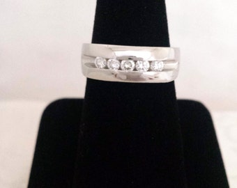 Platinum and Diamond Ring with Square Shank - EB031