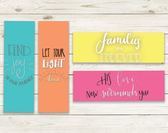 Instant Download LDS Bookmarks - LDS Printables, Hand Lettered Printable Bookmarks, Set of Four Inspirational LDS Quotes, Colorful Bookmarks