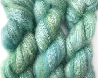 "Hand Dyed Yarn ""Verre de Mer"" Green Blue Aqua Yellow Turquoise Kid Mohair Silk Laceweight 465yds 50g"
